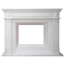 kominek marmurowy portal kominkowy Preston biały marmur