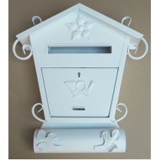 skrzynka na listy domek biała